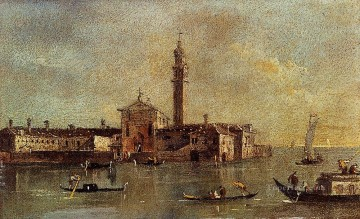 Francesco Guardi Painting - View Of The Island Of San Giorgio In Alga Venice Venetian School Francesco Guardi