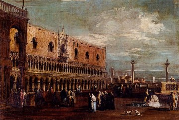 Francesco Guardi Painting - Venice A View Of The Piazzetta Looking South With The Palazzo Ducale Venetian School Francesco Guardi