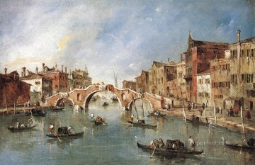 Francesco Guardi Painting - The Three Arched Bridge at Cannaregio Venetian School Francesco Guardi
