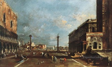 Maggiore Oil Painting - View of Piazzetta San Marco towards the San Giogio Maggiore Venetian School Francesco Guardi