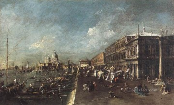 Della Painting - View of the Molo towards the Santa Maria della Salute Venetian School Francesco Guardi