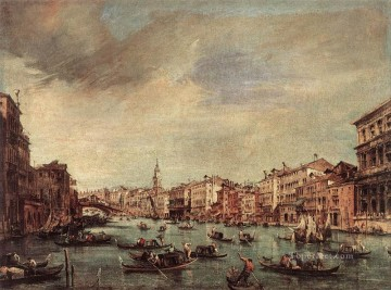 Francesco Guardi Painting - The Grand Canal Looking toward the Rialto Bridge Venetian School Francesco Guardi