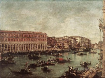 Francesco Guardi Painting - The Grand Canal at th Fish Market Pescheria Venetian School Francesco Guardi