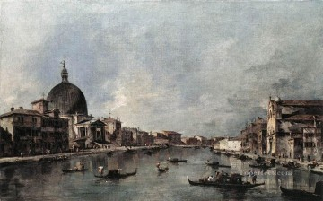 Francesco Guardi Painting - The Grand Canal with San Simeone Piccolo and Santa Lucia Venetian School Francesco Guardi