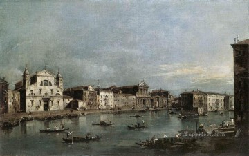 santa painting - The Grand Canal with Santa Lucia and the Scalzi Venetian School Francesco Guardi