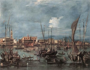 Francesco Guardi Painting - The Molo and the Riva degli Schiavoni from the Bacino di San Marco Venetian School Francesco Guardi