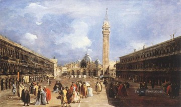 Francesco Guardi Painting - The Piazza San Marco towards the Basilica Venetian School Francesco Guardi
