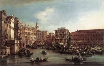 Francesco Canvas - The Rialto Bridge with the Palazzo dei Camerlenghi Venetian School Francesco Guardi
