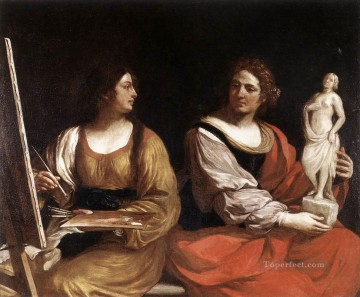 painting Oil Painting - Allegory of Painting and Sculpture Baroque Guercino