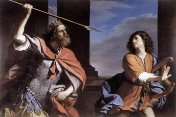Saul Attacking David Baroque Guercino Oil Paintings