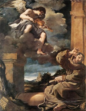 Playing Painting - St Francis with an Angel Playing Violin Baroque Guercino