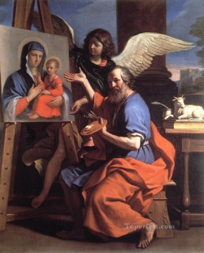 Virgin Painting - St Luke Displaying a Painting of the Virgin Baroque Guercino