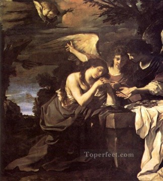 Guercino Painting - Magdalen and Two Angels Baroque Guercino