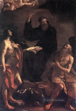 Guercino Works - St Augustine St John the Baptist and St Paul the Hermit Baroque Guercino