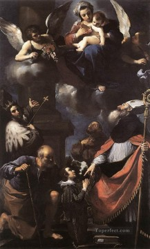A Donor Presented to the Virgin Baroque Guercino Oil Paintings
