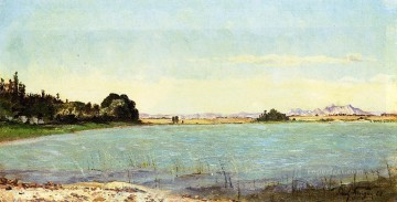 Lake Oil Painting - A Lake in Southern France scenery Paul Camille Guigou
