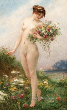 Guillaume Seignac Painting - Gathering Wild Flowers nude Guillaume Seignac