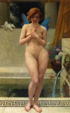 fountain Painting - Psyche at a Fountain Nymphe A La Piece DEau nude Guillaume Seignac