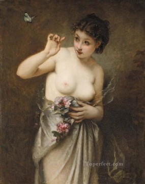 Guillaume Seignac Painting - Young Girl with a Butterfly nude Guillaume Seignac