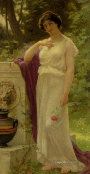 rose roses Painting - Young Woman with a Rose Guillaume Seignac