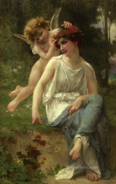 Guillaume Seignac Painting - Cupid Adoring a Young Maiden Guillaume Seignac