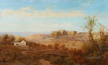 Bethlehem Oil Painting - Way to Bethlehem with Moab Mountain Range with R Gustav Bauernfeind Orientalist