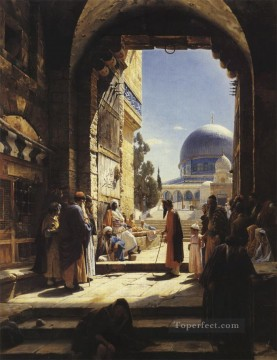 Gustav Bauernfeind Painting - At the Entrance to the Temple Mount Jerusalem Gustav Bauernfeind Orientalist
