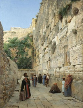Gustav Bauernfeind Painting - the wailing wall Jerusalem Gustav Bauernfeind Gustav Bauernfeind Orientalist