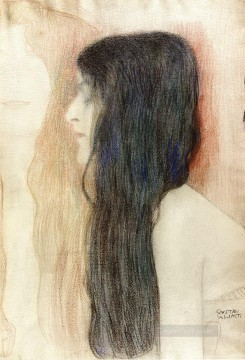 Girl with Long Hair with a sketch for Nude Veritas Gustav Klimt Oil Paintings
