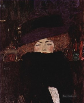 Gustave Klimt Painting - Lady with Hat and Featherboa Gustav Klimt
