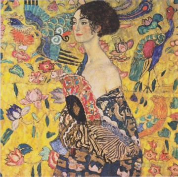klimt kiss Painting - Lady with Fan Gustav Klimt