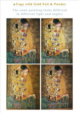 Copy of The Kiss Gustav Klimt with Gold Foil Golden Powder Please Save Image and Enlarge to See Details Oil Paintings