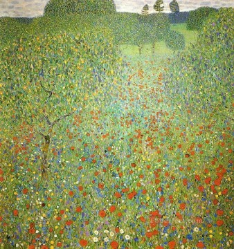 Mohnfeld Gustav Klimt landscape Austrian flowers Oil Paintings
