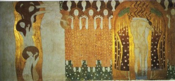 klimt kiss Painting - The Beethoven Frieze The Longing for Happiness Finds Repose in Poetry Gustav Klimt