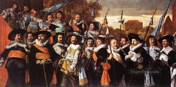 officer Oil Painting - Officers And Sergeants Of The St Hadrian Civic Guard portrait Dutch Golden Age Frans Hals