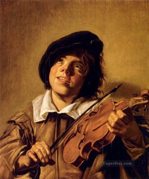 Playing Painting - Boy Playing A Violin portrait Dutch Golden Age Frans Hals