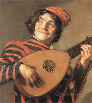 Frans Hals Painting - Buffoon Playing a Lute portrait Dutch Golden Age Frans Hals