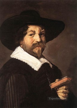 Frans Hals Painting - Portrait Of A Man Holding A Book Dutch Golden Age Frans Hals