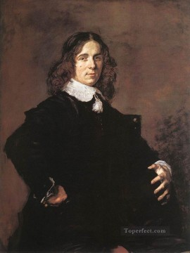 Frans Hals Painting - Portrait Of A Seated Man Holding A Hat Dutch Golden Age Frans Hals