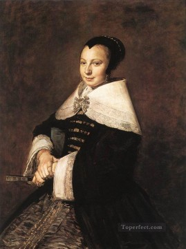 Frans Hals Painting - Portrait Of A Seated Woman Holding A Fan Dutch Golden Age Frans Hals