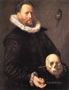 portrait - Portrait of a Man Holding a Skull Dutch Golden Age Frans Hals