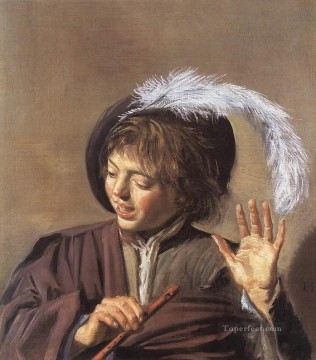 Frans Hals Painting - Singing Boy with a Flute portrait Dutch Golden Age Frans Hals