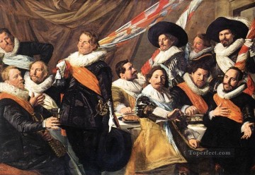 Frans Hals Painting - Banquet Of The Officers Of The St George Civic Guard Company 1 portrait Dutch Golden Age Frans Hals