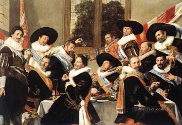 officer Oil Painting - Banquet Of The Officers Of The St George Civic Guard Company 2 portrait Dutch Golden Age Frans Hals