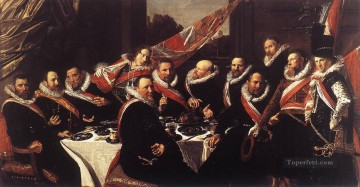 officer Oil Painting - Banquet of the Officers of the St George Civic Guard portrait Dutch Golden Age Frans Hals