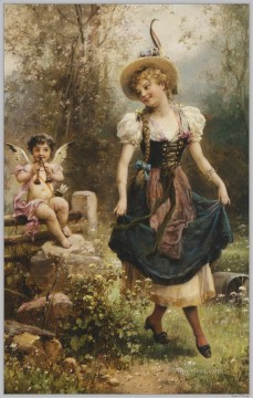 Verliebtes Dirndel Hans Zatzka Oil Paintings