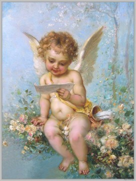 Hans Zatzka Painting - floral angel reading a letter Hans Zatzka