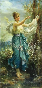 flower girl 2 Hans Zatzka Oil Paintings