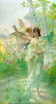 Hans Zatzka Painting - girl and angel Hans Zatzka