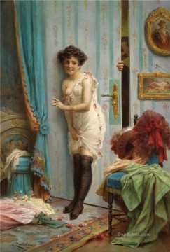 Hans Zatzka Painting - girl behind the door Hans Zatzka